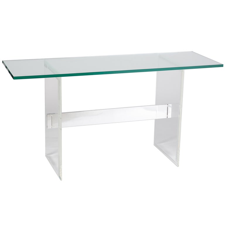 Lucite, Aluminum and Glass Console Desk