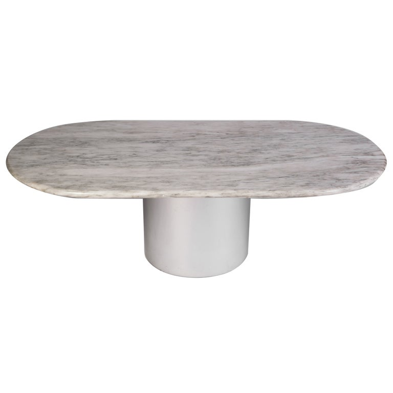 Paul Mayen for Habitat Marble and Aluminum Coffee Table