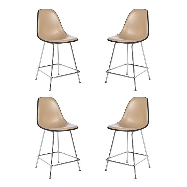 Charles Eames Leather Upholstered Fiberglass Bar Stools At
