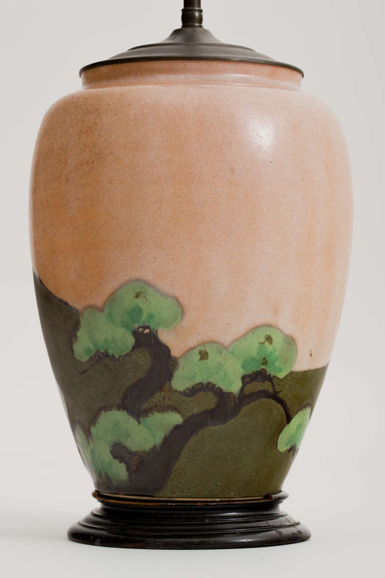 Japanese matte glaze arts and crafts pottery lamp for sale for Arts and crafts pottery