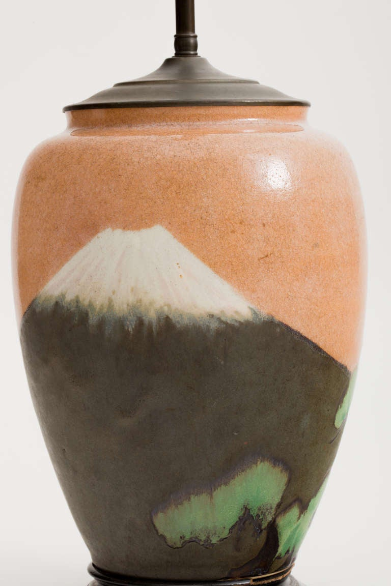 Japanese Matte Glaze Arts And Crafts Pottery Lamp For Sale