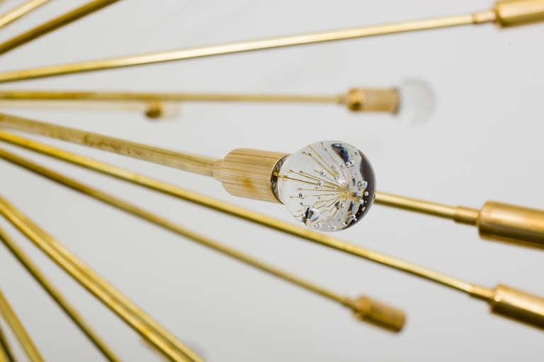 American Inclused Glass Orb Brass Sputnik Chandelier For Sale