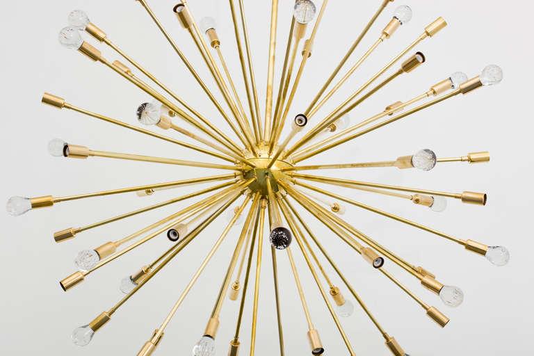 Hand-Crafted Inclused Glass Orb Brass Sputnik Chandelier For Sale
