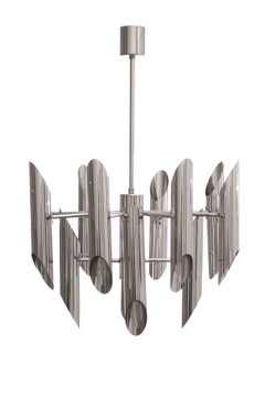 1970s Italian Chromed Steel Tubular Chandelier