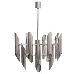 1970s Italian Chrome Tubular Chandelier