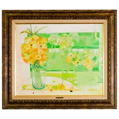 """Miguel Guzman Midcentury Oil Painting """"Bouquet de Jonquilles,"""" circa 1968"""