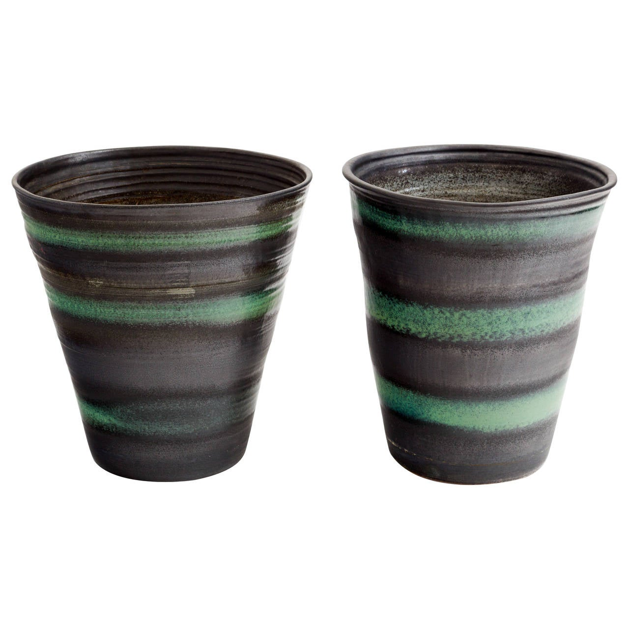 Large scale mid century charcoal and green matte glaze ceramic planter.