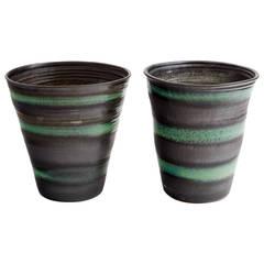 Black and Green Stripe Matte Glaze Ceramic Planters