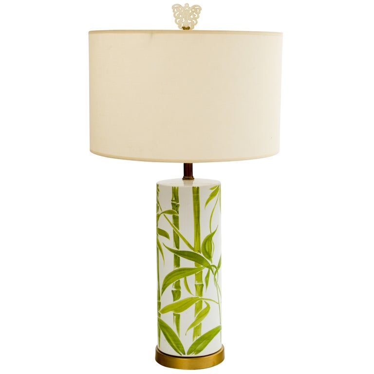 1960s Italian Ceramic Bamboo Lamp with Antique Chinese Jade Finial For Sale