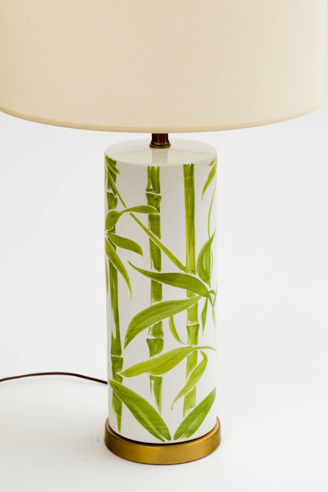 1960s Italian Ceramic Bamboo Lamp with Antique Chinese Jade Finial In Good Condition For Sale In New York, NY