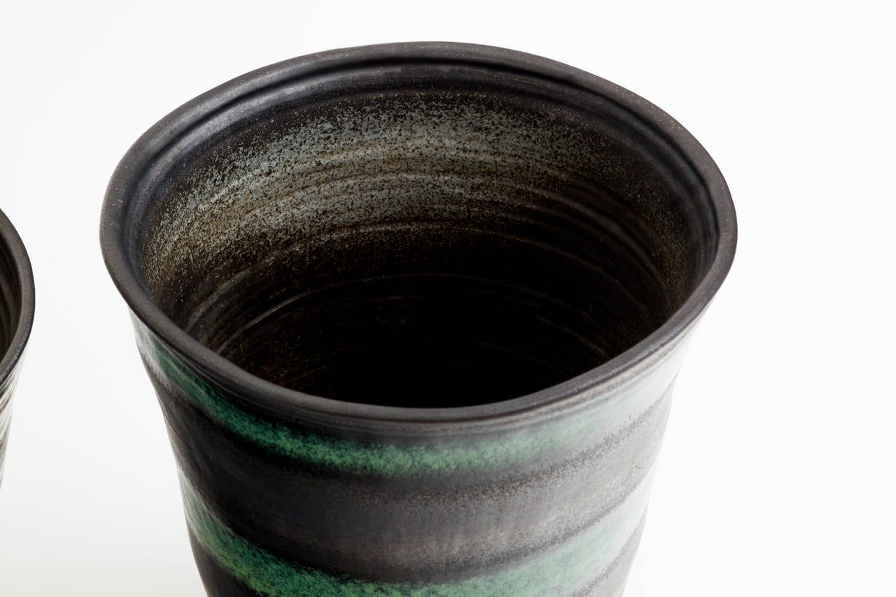 Glazed Black and Green Stripe Matte Glaze Ceramic Planter For Sale