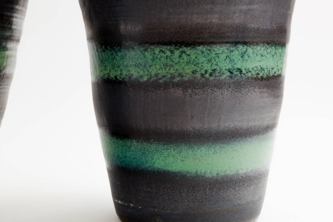 Unknown Black and Green Stripe Matte Glaze Ceramic Planter For Sale