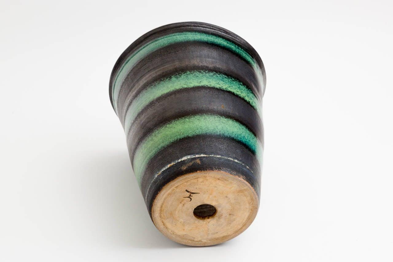 Black and Green Stripe Matte Glaze Ceramic Planter In Good Condition For Sale In New York, NY