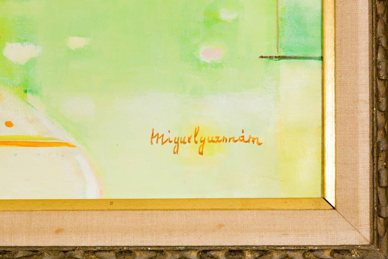 20th Century Miguel Guzman Midcentury Oil Painting