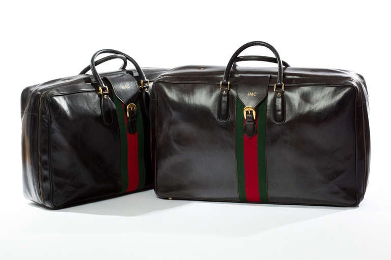 Rare 1970s Gucci Leather Luggage Set For Sale at 1stdibs