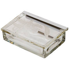Art Deco Nickel and Engraved Glass Box by Dorothy Thorpe