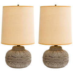 1950s French Ceramic Pottery Lamps