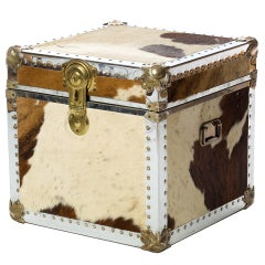 1970s Cowhide Trunk or Cube Table
