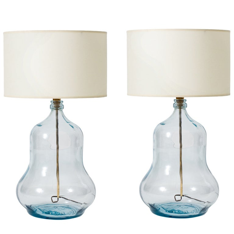 Mexican Glass Gourd Bottle Lamps For Sale