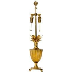 Fluted Brass Pineapple Urn Lamp