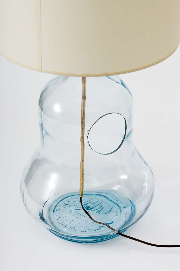 Mid-Century Modern Mexican Glass Gourd Bottle Lamps For Sale