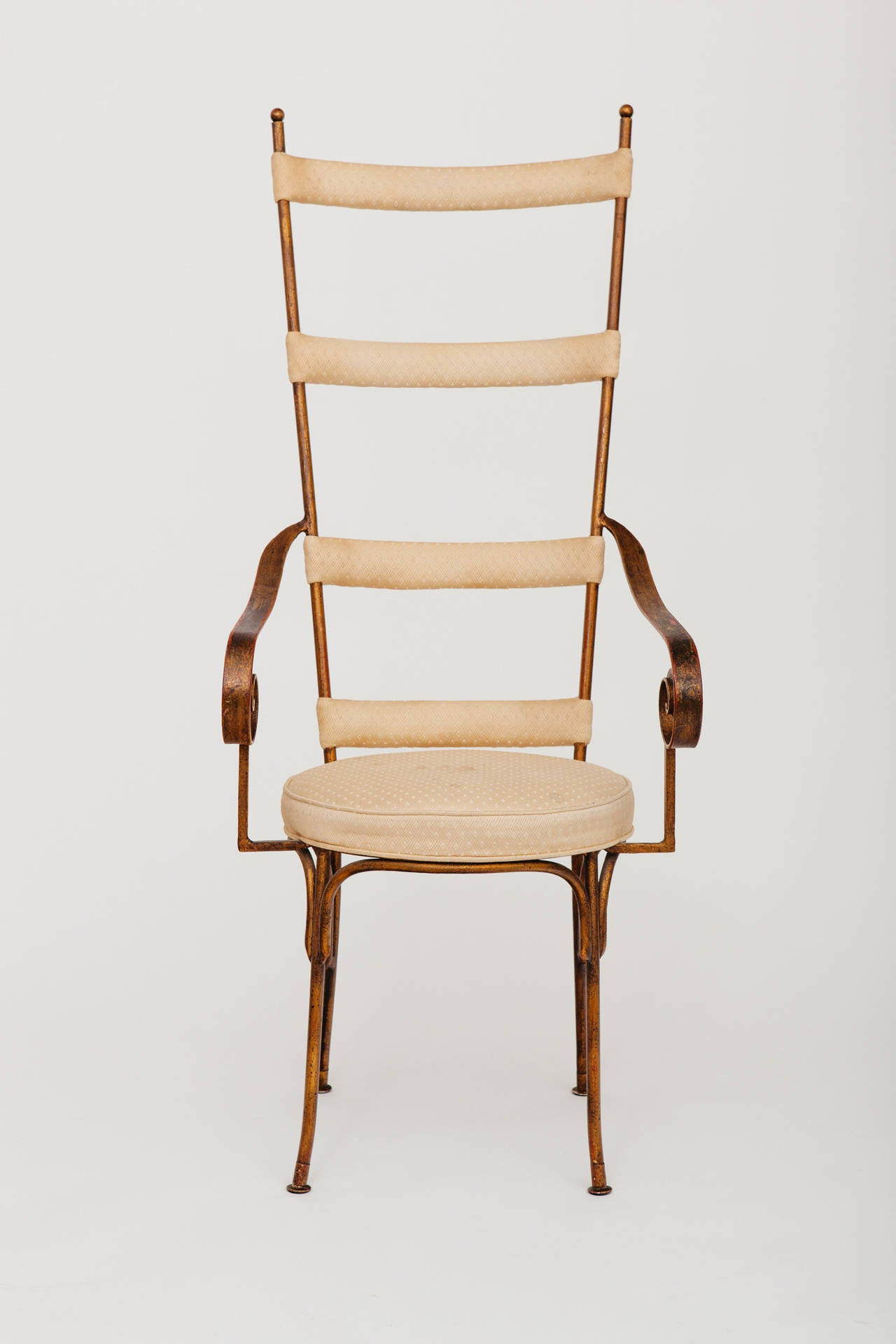Mid-Century Modern Italian Gilt Metal Ladder Back Chair, circa 1950s For Sale