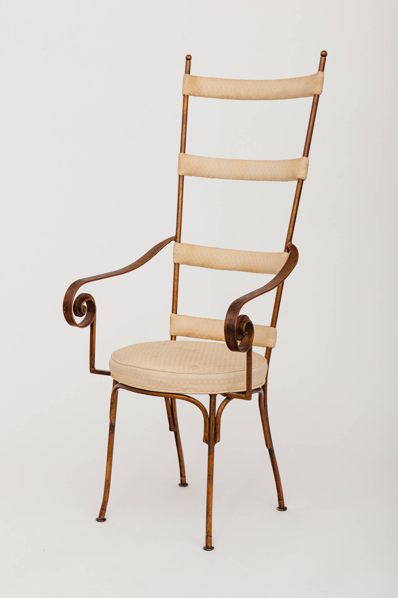 Italian Gilt Metal Ladder Back Chair, circa 1950s 2