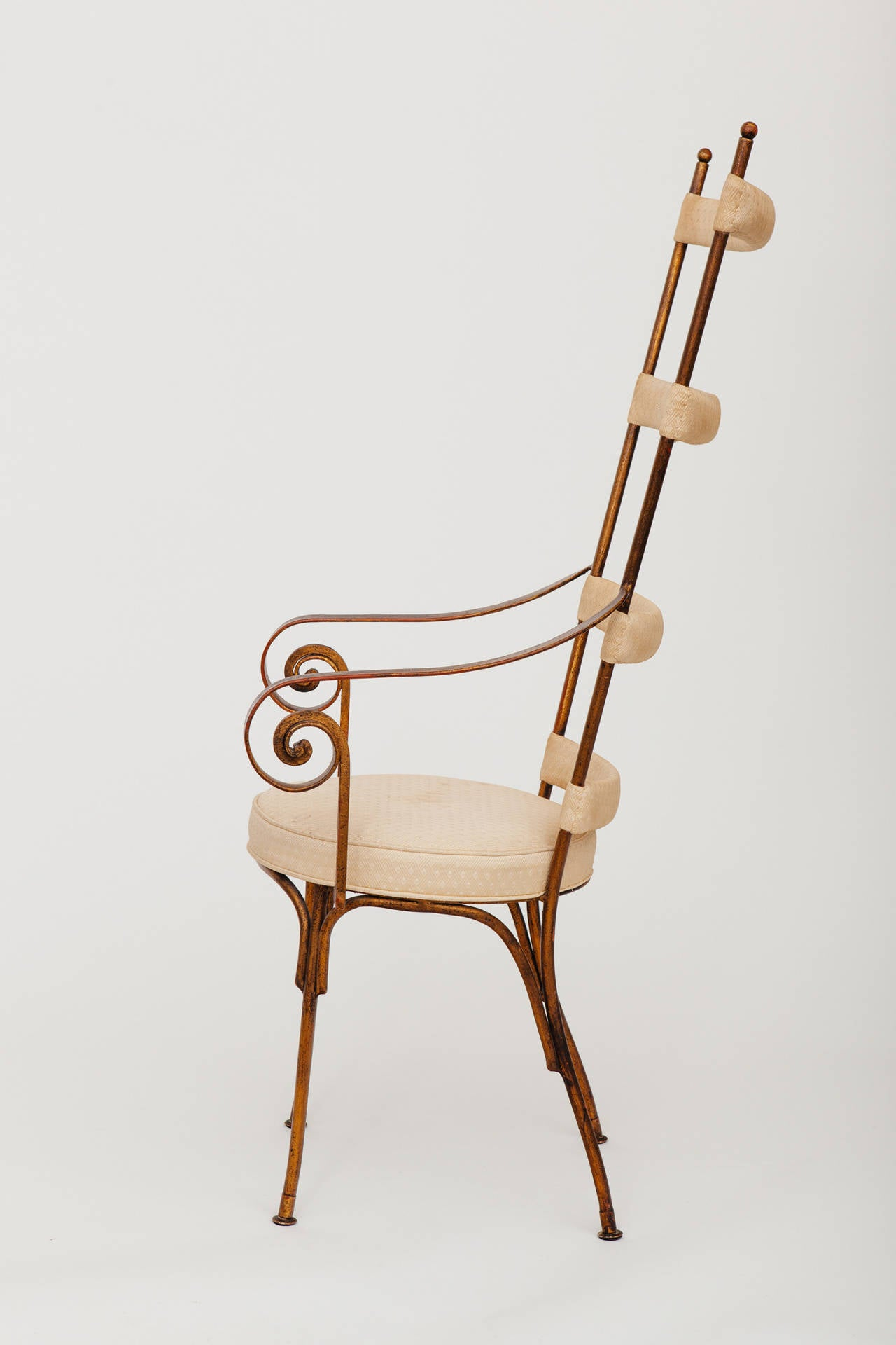 Hand-Crafted Italian Gilt Metal Ladder Back Chair, circa 1950s For Sale