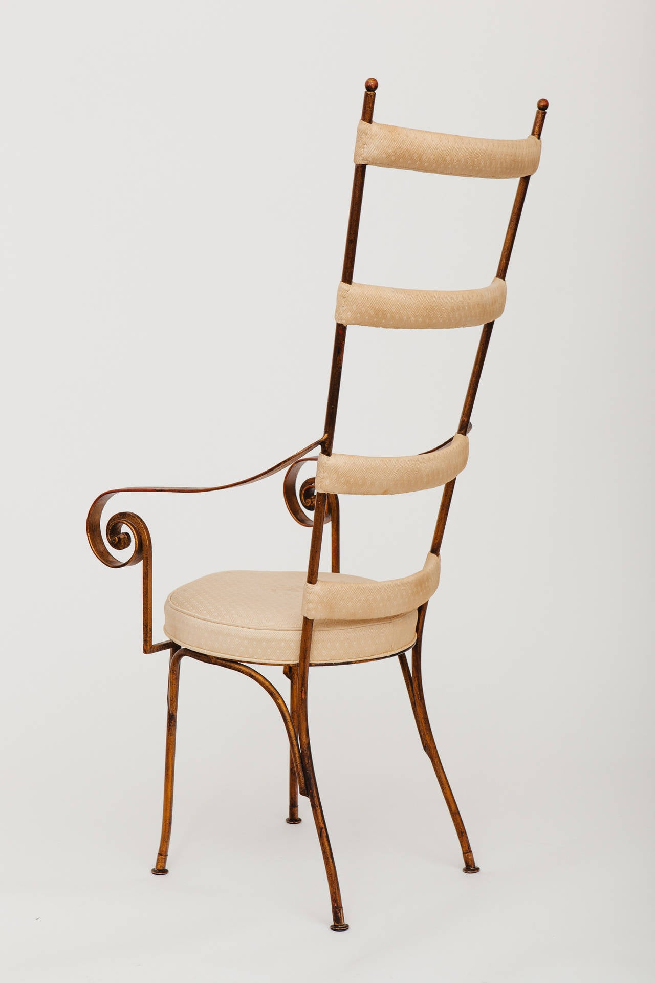 Italian Gilt Metal Ladder Back Chair, circa 1950s In Good Condition For Sale In New York, NY