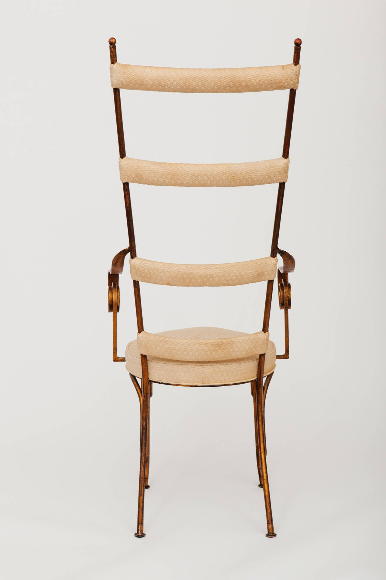 Italian Gilt Metal Ladder Back Chair, circa 1950s 6