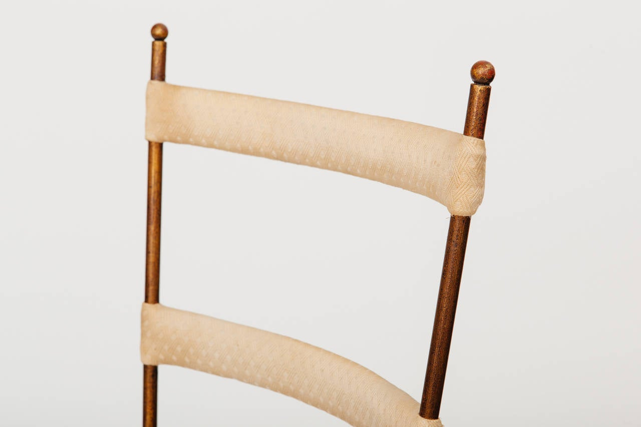 Italian Gilt Metal Ladder Back Chair, circa 1950s For Sale 1