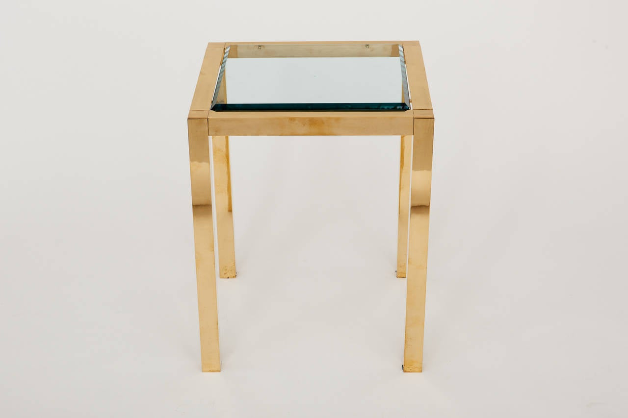 American Lacquered Brass and Beveled Glass Side Table For Sale