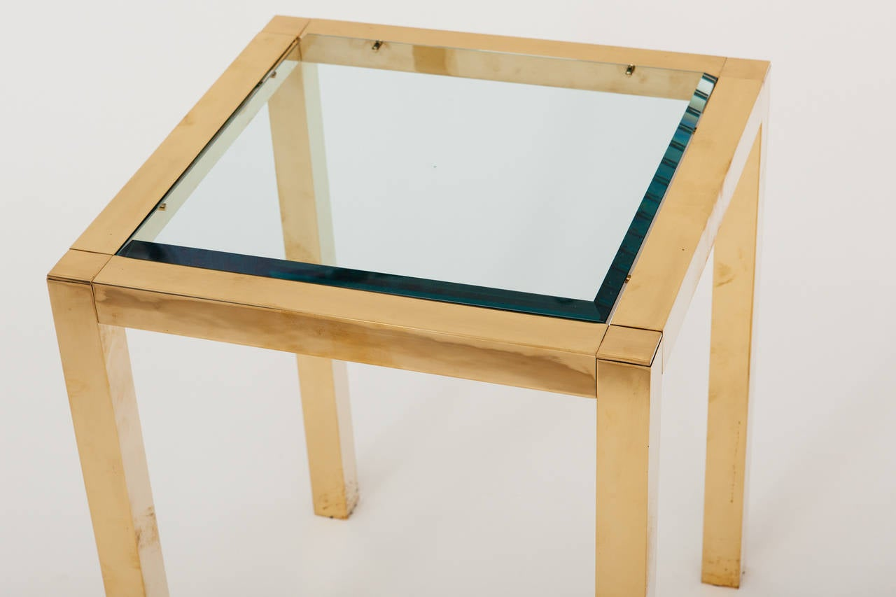 Mid-Century Modern Lacquered Brass and Beveled Glass Side Table For Sale