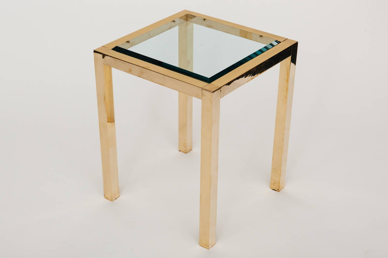 Lacquered brass with beveled glass top square side table, circa 1980s.