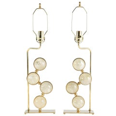 Rock Crystal and Brass Lamps