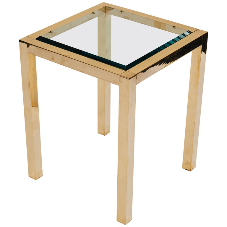 Lacquered Brass and Beveled Glass Side Table For Sale