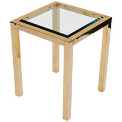 Lacquered Brass And Beveled Glass Side Table