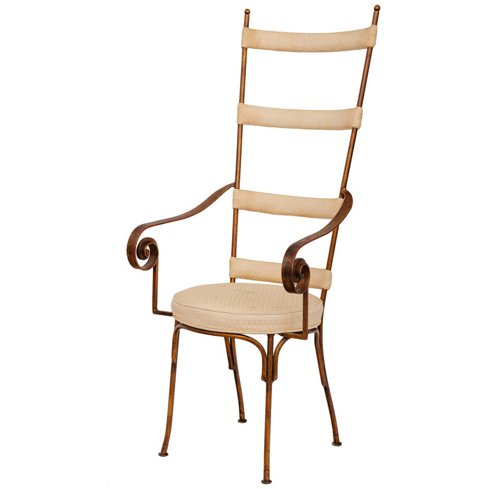 Italian Gilt Metal Ladder Back Chair, circa 1950s For Sale