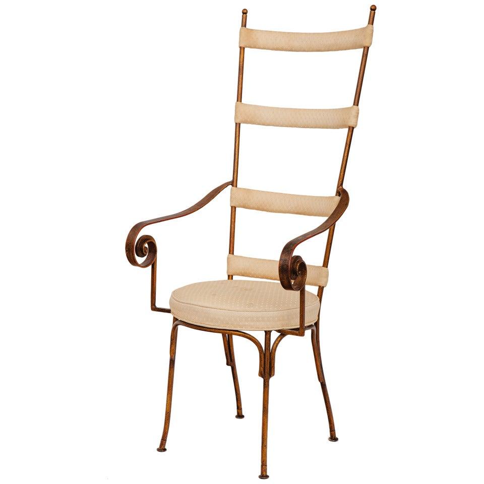 Italian Gilt Metal Ladder Back Chair, circa 1950s