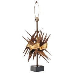 Large 1970s Brutalist Metal Lamp Attributed to Tom Greene