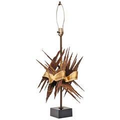Large 1970s Brutalist Tom Greene Metal Lamp