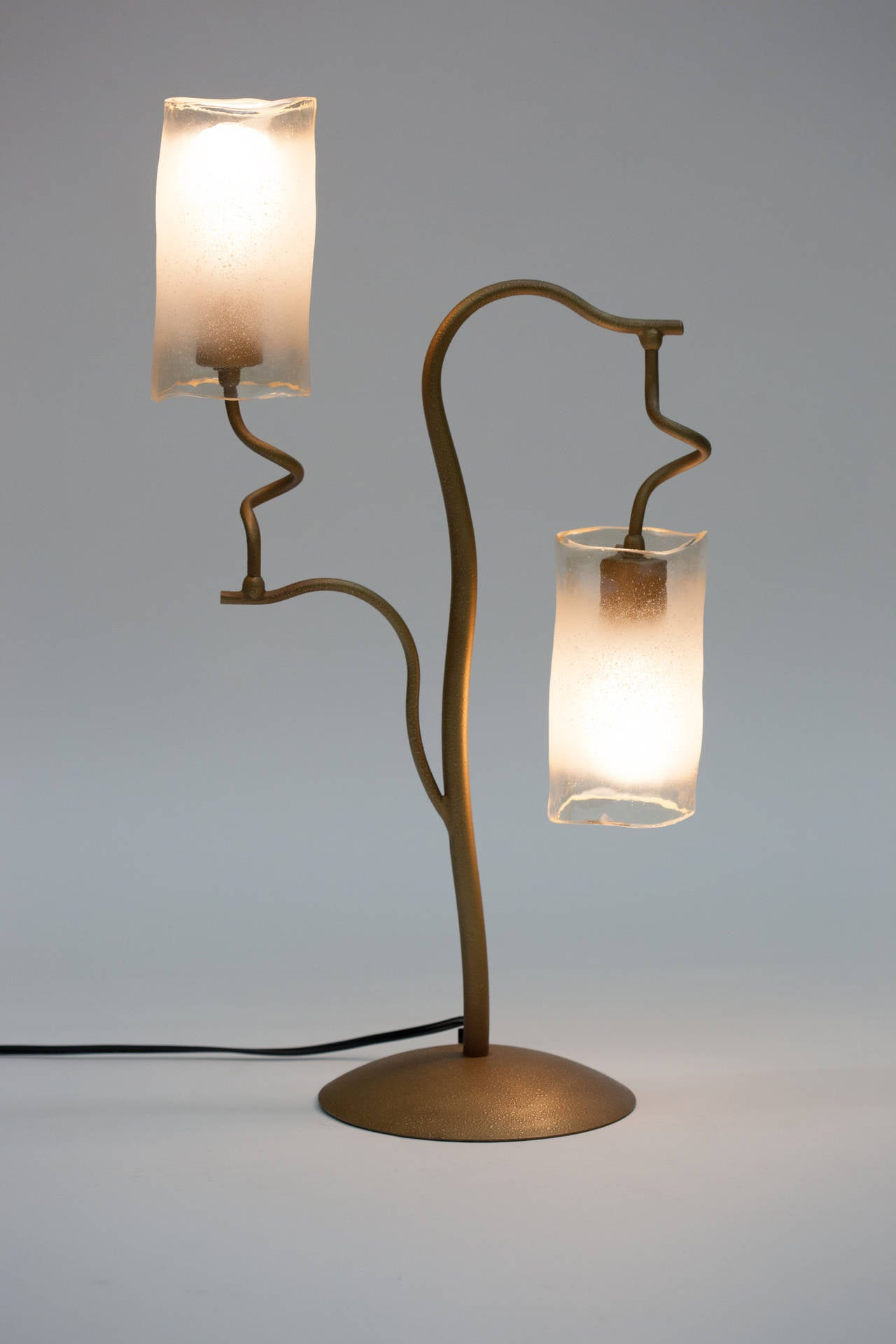 20th Century Italian 1980s Double Glass Shade Tree Lamp For Sale