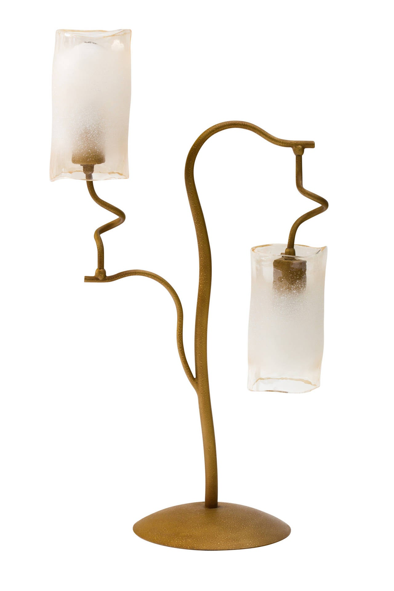 Italian 1980s double glass shade lamp with metal branches and circular 8 inch diameter base.