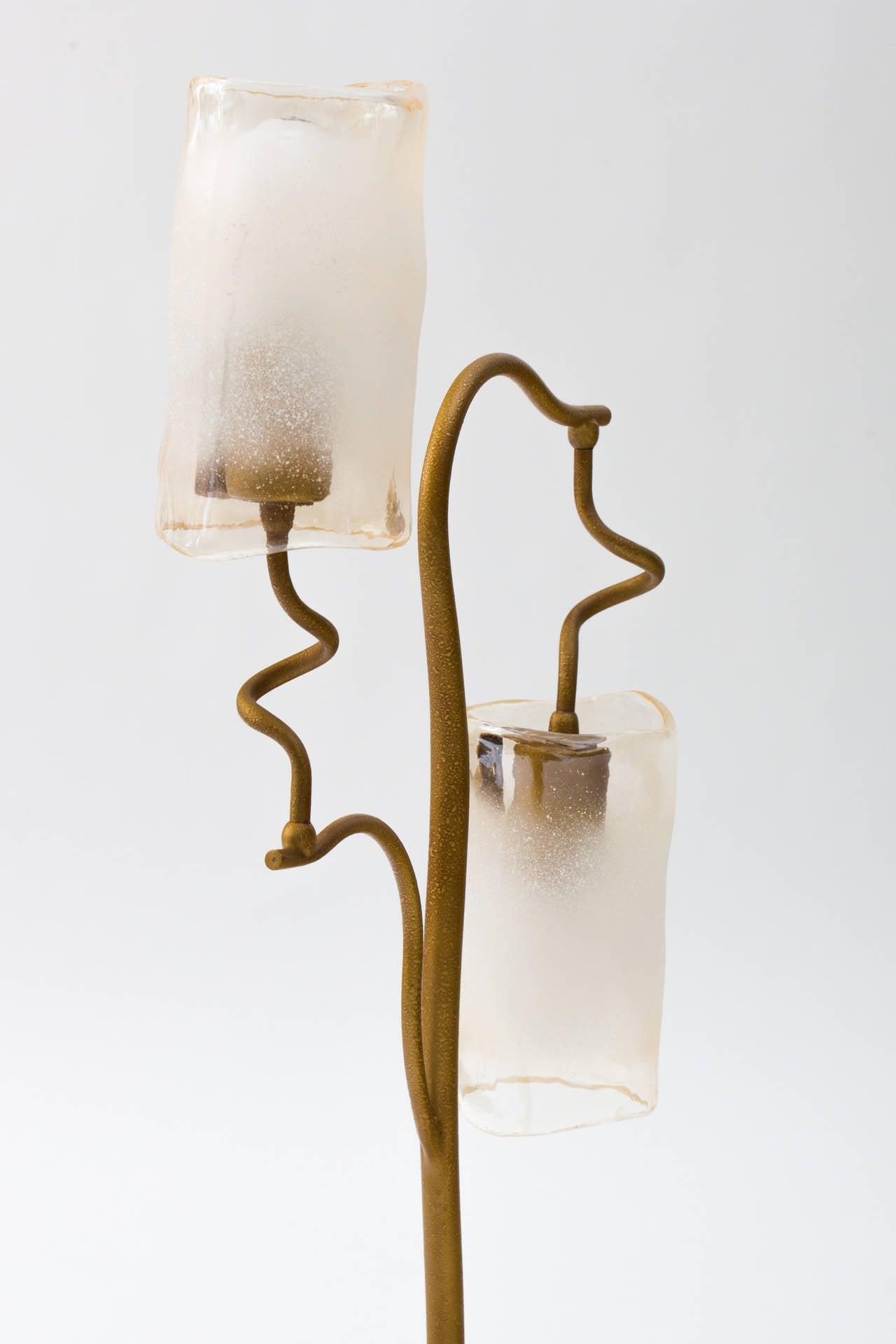 Mid-Century Modern Italian 1980s Double Glass Shade Tree Lamp For Sale
