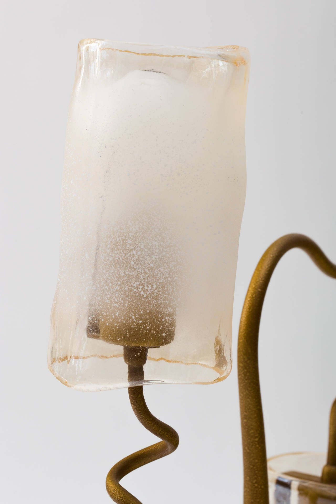 Hand-Crafted Italian 1980s Double Glass Shade Tree Lamp For Sale