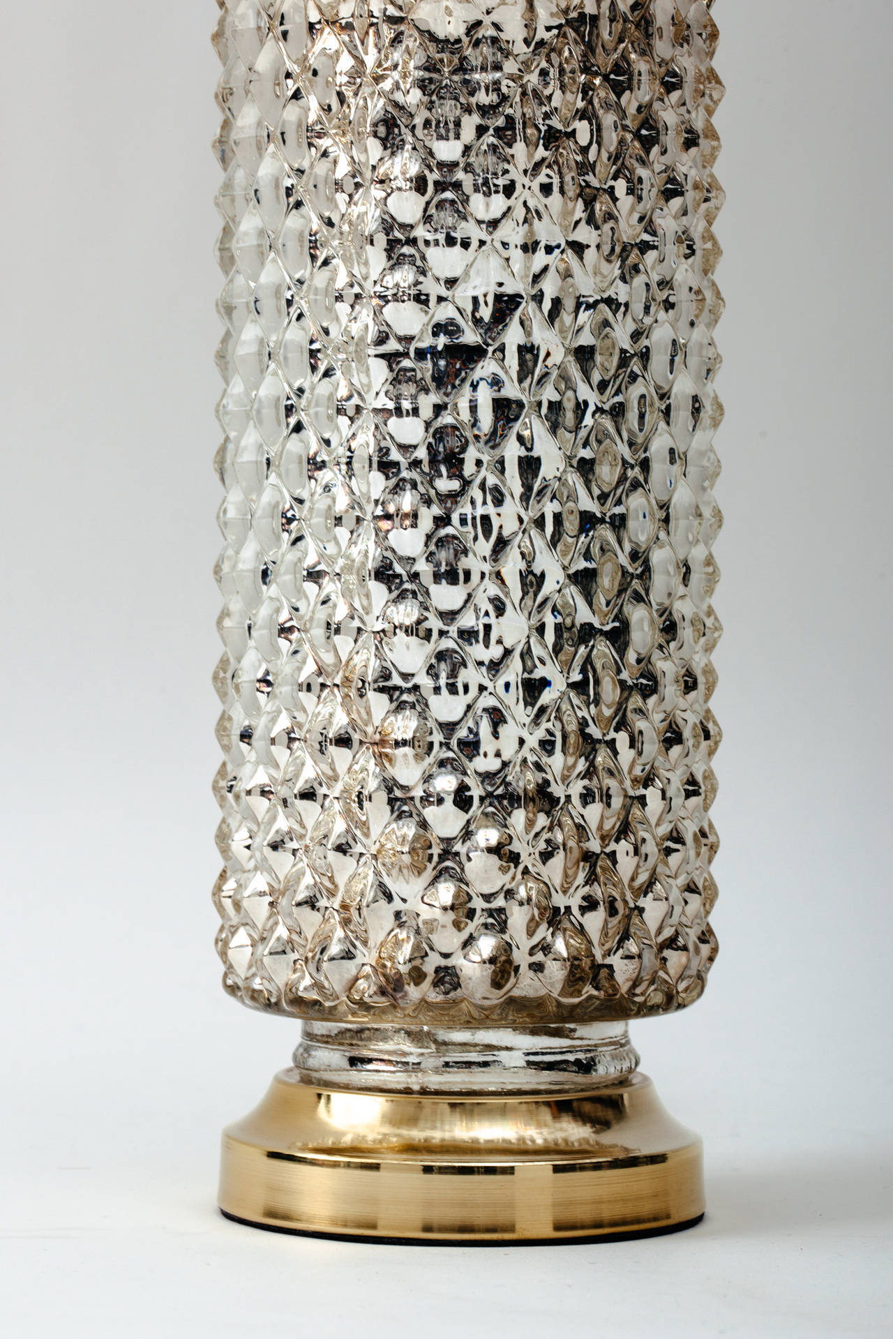 1970s Mercury Glass Honeycomb Cylinder Lamps At 1stdibs