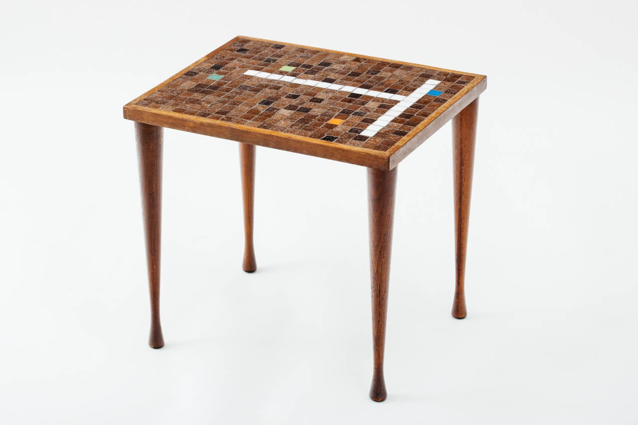 Italian walnut and glass mosaic tile top nesting tables at for Glass top nesting tables