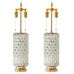1970's Hollywood Regency Mercury Glass Cylinder Lamps