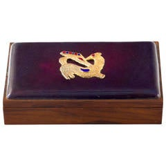 Danish Rosewood Box with Gilt Enamel Detail