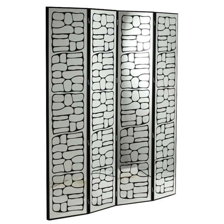 Abstract Modern Reverse Painted Glass Mirrored Screen